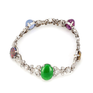 SOLD - 3.95ctw Diamond, Ruby, Jade, Sapphire, Opal, and Citrine Bracelet