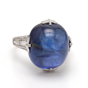 21.01ct Oval, No Heat, Ceylon Sapphire Ring - SSEF Certified