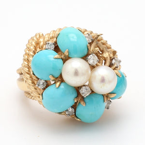 Turquoise, Pearl, and Diamond Ring