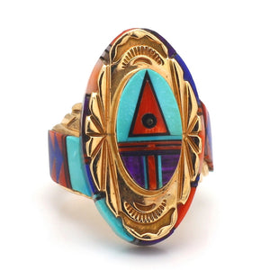 SOLD - Multi Stone Inlay Zuni Native American Ring