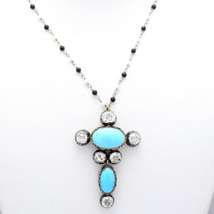 3.75ctw Old Mine Cut Diamond and Turquoise Necklace