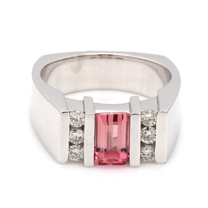 0.75ct Square Cut, Pink Tourmaline Ring