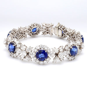 Harry Winston, 23.13ctw Pear and Round Brilliant Cut Diamond and Sapphire Bracelet