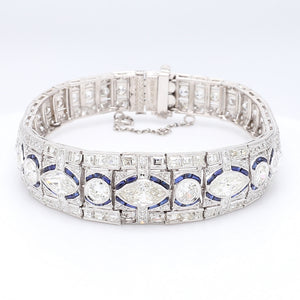 16.25ctw Old European, Marquise, and Round Brilliant Cut Diamond Bracelet