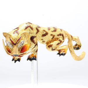 Italian, Diamond and Enamel Tiger Brooch