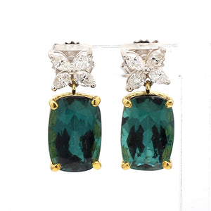 8.74ctw Cushion Cut, Green Tourmaline Earrings