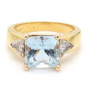 6.00ct Square Cut Aquamarine Ring