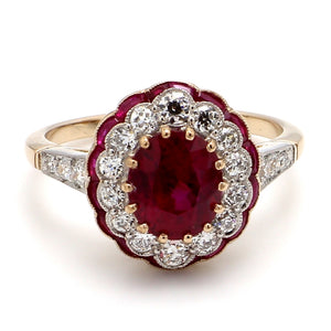 2.38ct Oval Cut, Vivid Red, Burma Ruby Ring - GIA Certified