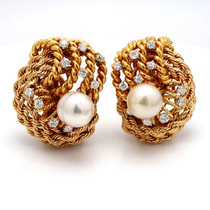 SOLD - David Webb, Pearl and Diamond Earrings