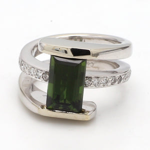 2.74ct Emerald Cut Green Tourmaline Ring