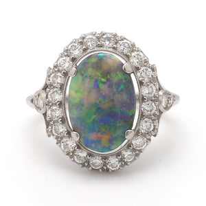 4.00ct Oval Cut, Black Opal Ring