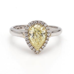 1.06ct Fancy Yellow Pear Shaped Diamond Ring