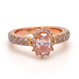0.76ct Fancy Orangy-Pink, Oval Cut Diamond Ring - GIA Certified