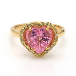 2.66ct Heart Shaped, Pink Tourmaline Ring