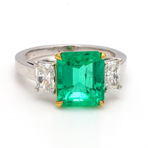 3.75ct Emerald Cut Emerald Ring - AGL Certified