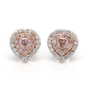 0.38ctw Fancy Pink Heart Shaped Diamond Earrings