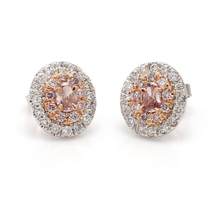 0.26ctw Fancy Intense Pink, Oval Cut Diamond Earrings