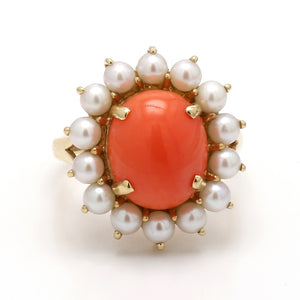 12mm Oval Cabochon Cut Coral and Pearl Ring
