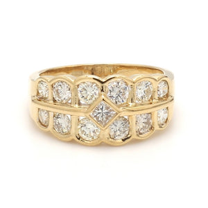 1.63ctw Princess and Round Brilliant Cut Diamond Band