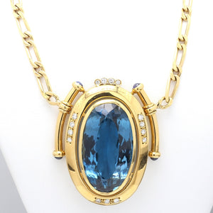 50.00ct Oval Cut Blue Topaz Necklace