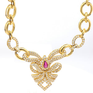 1.91ctw Round Brilliant Cut Diamond and Ruby Necklace