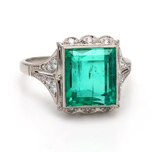 4.44ct Emerald Cut, Colombian Emerald Ring - AGL Certified