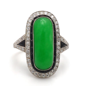 SOLD - Oval, Cabochon Cut Jade Ring