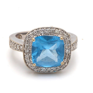 4.00ct Cushion Cut Blue Topaz Ring