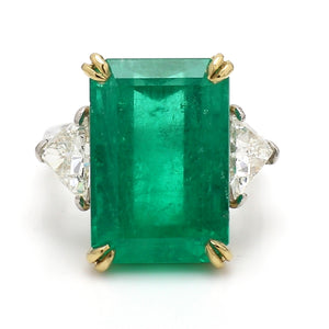 SOLD - 14.91ct Emerald Cut Colombian Emerald Ring - AGL Certified