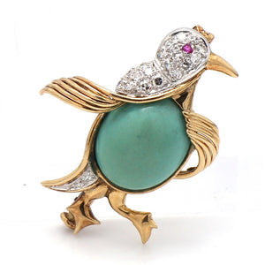 SOLD - 0.33ctw Round Brilliant Cut Diamond and Turquoise Brooch