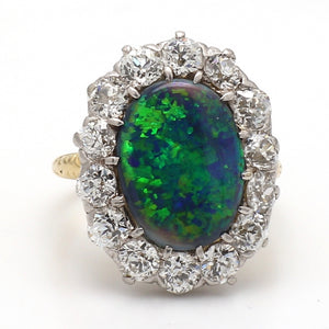 3.50ct Oval Cut, Black Opal Ring