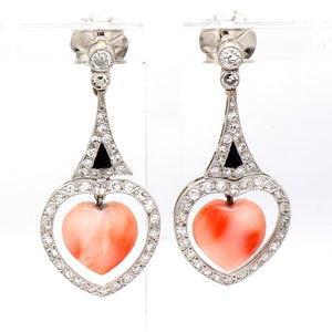 SOLD - 0.93ctw Diamond and Coral Earrings