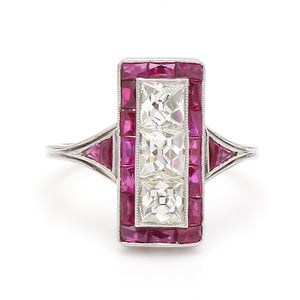 SOLD - 2.10ctw French Cut Diamond and Ruby Ring