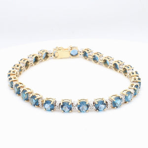 SOLD - 12.00ctw Round Brilliant Cut, Blue Topaz Bracelet