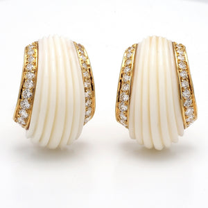0.70ctw Round Brilliant Cut Diamond and Coral Earrings