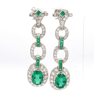 2.30ctw Oval Cut Emerald Earrings