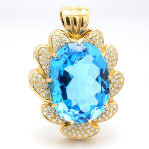 Hauer, 145.00ct Oval Cut Swiss Blue Topaz Pendant
