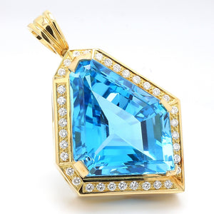 Hauer, 190.00ct Freeform Swiss Blue Topaz Pendant