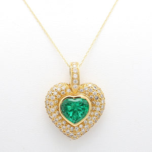 Hauer, 5.00ct Heart Shaped Colombian Emerald Pendant