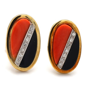 Coral and Onyx Inlay Earrings