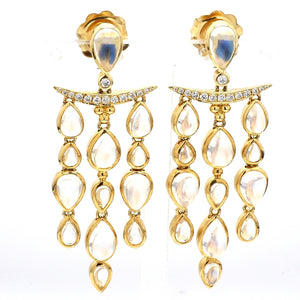 Temple St. Clair, 13.94ctw Moonstone and Diamond Earrings
