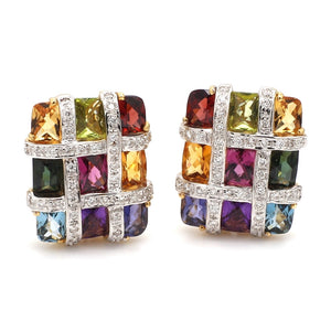 Bellarri, Mixed Gemstone and Diamond Earrings - Mosaic