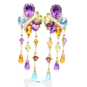 SOLD - Bellari, Mixed Gemstone and Diamond Earrings - Lolita