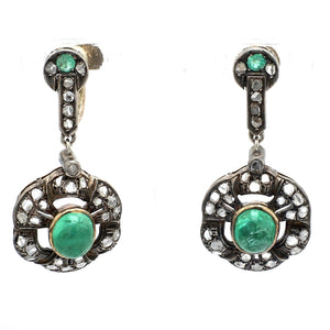 4.25ctw Round Cabochon Cut Emerald Earrings