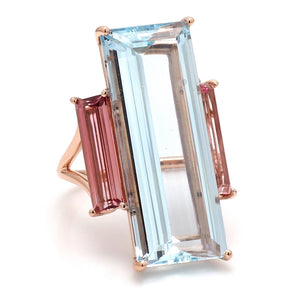 21.90ct Emerald Cut Greenish-Blue Aquamarine Ring - GIA Certified
