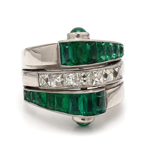3.70ctw French Cut Emerald Ring