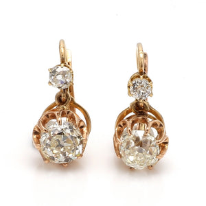 3.28ctw Old European Cut Diamond Earrings