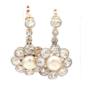 2.55ctw Old European Cut Diamond and Pearl Earrings