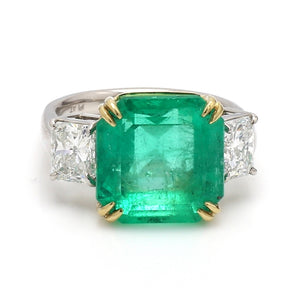 10.28ct Emerald Cut Colombian Emerald Ring - AGL Certified
