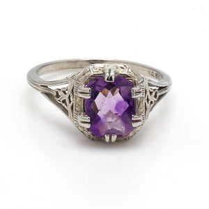 1.00ct Rectangular Cut Amethyst Ring